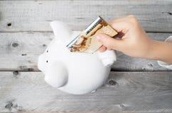 Azjatycka chłopiec ręka wkłada sto dolarów banknot Obraz Stock