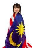 Azjatycka Chińska mała dziewczynka z Malezja flaga Obrazy Stock