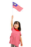 Azjatycka Chińska mała dziewczynka z Malezja flaga Zdjęcie Royalty Free