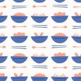 Azjatycka Karmowa Zupnego pucharu wektoru wzoru błękita pomarańcze ilustracja wektor