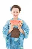 Azjatycka kimonowa kobieta z białym tłem Obraz Stock