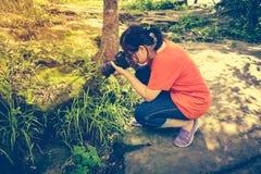 Azjatycka kobieta bierze z mech zakrywać skałami Plenerowy przy dayti Fotografia Stock