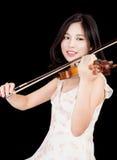 Azjatycka kobieta i skrzypce Zdjęcie Royalty Free