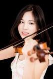 Azjatycka kobieta i skrzypce Zdjęcia Stock