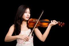 Azjatycka kobieta i skrzypce Zdjęcie Stock