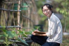 Azjatycka kobieta sprawdza organicznie ogórek, Surowy Organicznie Mini dziecko Obrazy Royalty Free