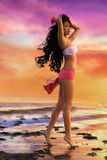 Azjatycka kobieta w białym bikini Fotografia Stock
