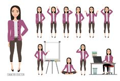 Azjatycka kobieta w biurowym kostiumu Set emocje i gesty młoda azjatykcia kobieta Zdjęcie Royalty Free