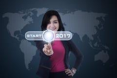 Azjatycka kobiety macania początku ikona z 2017 Zdjęcie Stock