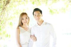Azjatycka para w miłości w highkey Fotografia Royalty Free