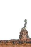 Azjatycka religijna sztuka Antyczna piaskowcowa rzeźba Buddha biel Obrazy Stock