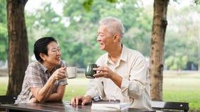 Azjatycka starsza para relaksuje pić kawę w lato parku, zieleń Obraz Royalty Free