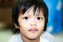 Azjatycka urocza chłopiec twarzy ostrość Zdjęcie Stock