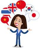 Azjatycka wektorowa kreskówki kobieta, sześć mowa balonów, flaga, obcojęzyczny języka chińczyk, angielszczyzny, wietnamczyk, kore royalty ilustracja