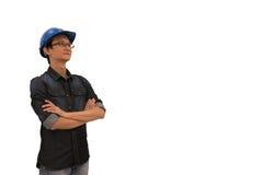 Azjatycki architekt lub inżynier patrzeje oddolny, z ścinek ścieżką, odizolowywającą na białym tle fotografia stock