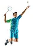 Azjatycki badminton gracza mężczyzna odizolowywający Zdjęcia Stock
