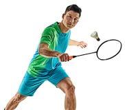 Azjatycki badminton gracza mężczyzna odizolowywający Obraz Royalty Free