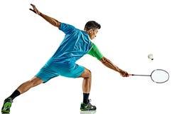 Azjatycki badminton gracza mężczyzna odizolowywający Fotografia Royalty Free