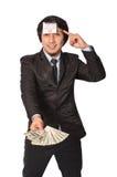 Azjatycki biznes dostaje żarówka pomysł z zarabia Zlanego Fotografia Stock