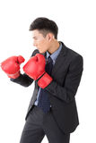 Azjatycki biznesmen z bokserskimi rękawiczkami zdjęcie royalty free