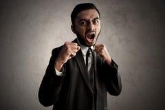 Azjatycki biznesowego mężczyzna szalenie wyrażenie fotografia stock