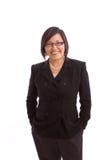 Azjatycki bizneswomanu ono uśmiecha się odizolowywam na bielu obraz stock