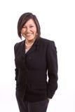 Azjatycki bizneswomanu ono uśmiecha się odizolowywam na bielu zdjęcia stock