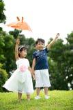 Azjatycki brat i siostra ma zabawę w parku Fotografia Royalty Free