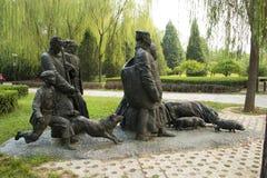 Azjatycki chińczyk, Pekin, Międzynarodowy rzeźba park, rzeźba dźwięki góry, zgłębia w górach Zdjęcie Royalty Free