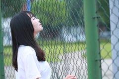 Azjatycki Chiński student uniwersytetu cieszy się czas wolnego przy kampusem Obrazy Royalty Free