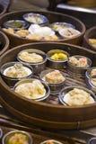 Azjatycki dim sum w bambusowym parostatku Zdjęcie Stock