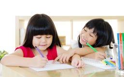 Azjatycki dzieci Rysować Fotografia Royalty Free