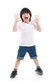 Azjatycki dziecko zaskakuje i w ten sposób szczęśliwy o mnie Zdjęcie Stock