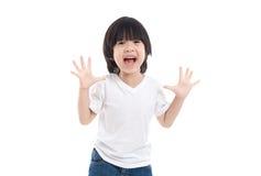 Azjatycki dziecko zaskakuje i w ten sposób szczęśliwy o mnie Obrazy Royalty Free