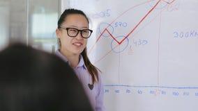 Azjatycki dziewczyna kierownik kończył prezentację zbiory
