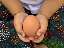 Azjatycki dziewczyny mienia jajko z oba jej ręki z opieką, zamyka up zdjęcia stock