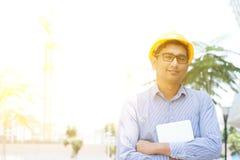 Azjatycki Indiański męski kontrahenta inżyniera portret Fotografia Royalty Free