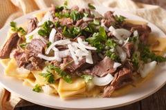 Azjatycki jedzenie: beshbarmak zakończenie na talerzu horyzontalny zdjęcia royalty free