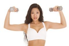 Azjatycki kobieta biel bawi się staników ciężary Obraz Stock