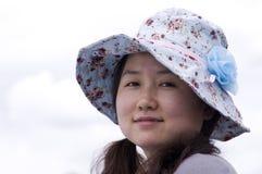 Azjatycki kobiety noszą kapelusz Obraz Stock