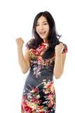 Azjatycki młodej kobiety odświętności sukces obraz stock