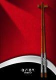 Azjatycki menu z Drewnianymi Chopsticks ilustracja wektor