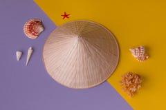 Azjatycki ostrostożkowy słomiany kapelusz w kreatywnie Zdjęcia Royalty Free