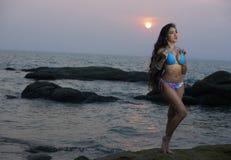 Azjatycki piękno Przy Tajlandia plażą fotografia royalty free