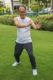 Azjatycki starszego mężczyzna odzieży koszula biały stojak i praktyki tai chi na trawie Zdjęcie Stock