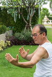 Azjatycki starszego mężczyzna odzieży koszula biały stojak i praktyki tai chi w parku Zdjęcie Royalty Free