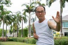 Azjatycki starszego mężczyzna odzieży koszula biały stojak i praktyki tai chi w przestrzeni parka i kopii Fotografia Royalty Free