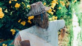 Azjatycki strach na wróble z kwiatem obrazy stock