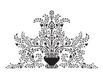 Azjatycki tradycyjnej sztuki projekta wektor, Tajlandzka tradycyjna projekt waza i drzewny kwiat, - (Lai Tajlandzki) Zdjęcie Royalty Free