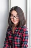 Azjatycki uśmiechnięty dziewczyna portret Obraz Royalty Free